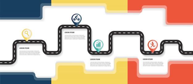 道路地図インフォグラフィックテンプレート Premiumベクター