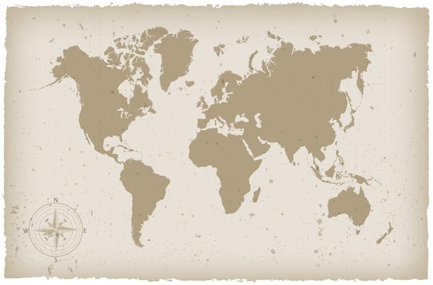 グランジ世界地図 Premiumベクター