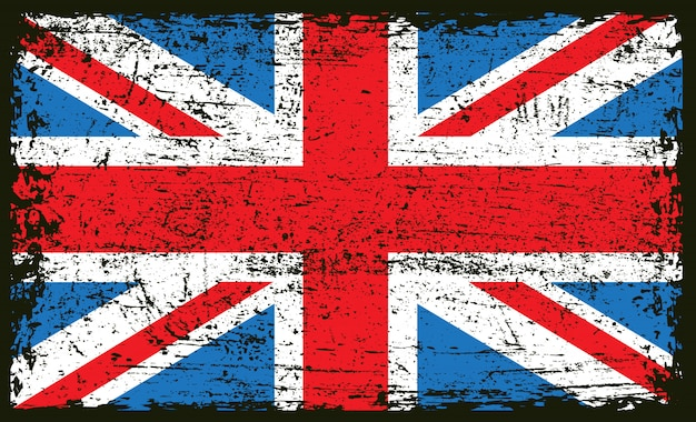 Винтаж гранж флаг великобритании Premium векторы