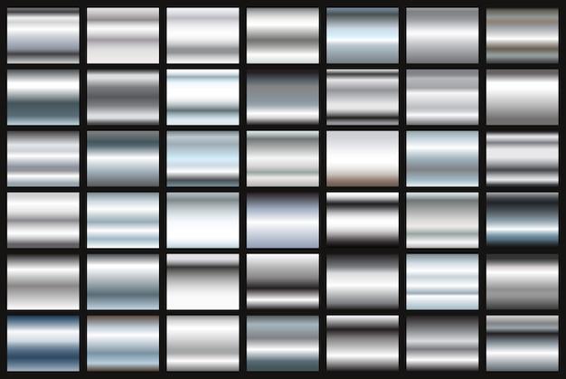 銀グラデーションのセット Premiumベクター