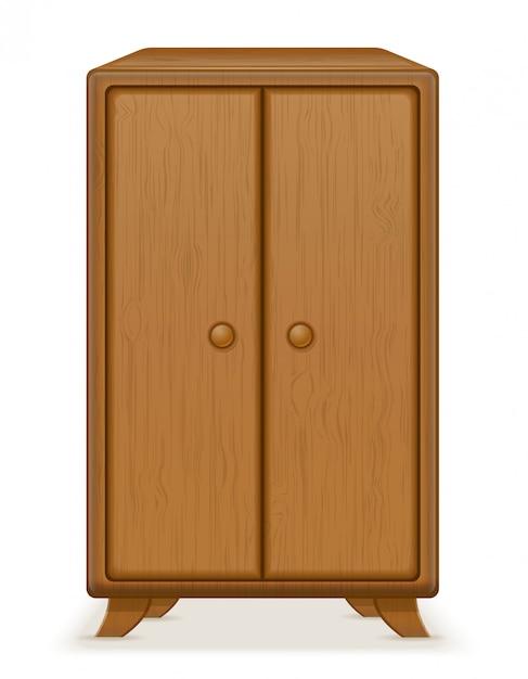 古いレトロな木製家具ワードローブベクトルイラスト Premiumベクター