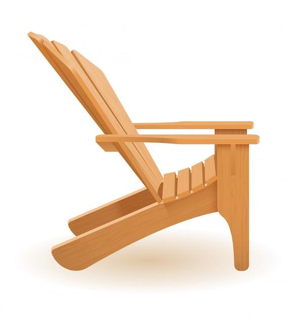 木製のベクトル図から成っている浜または庭の肘掛け椅子のラウンジャーのデッキチェア Premiumベクター