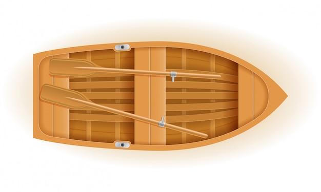 Деревянная лодка вид сверху векторная иллюстрация Premium векторы