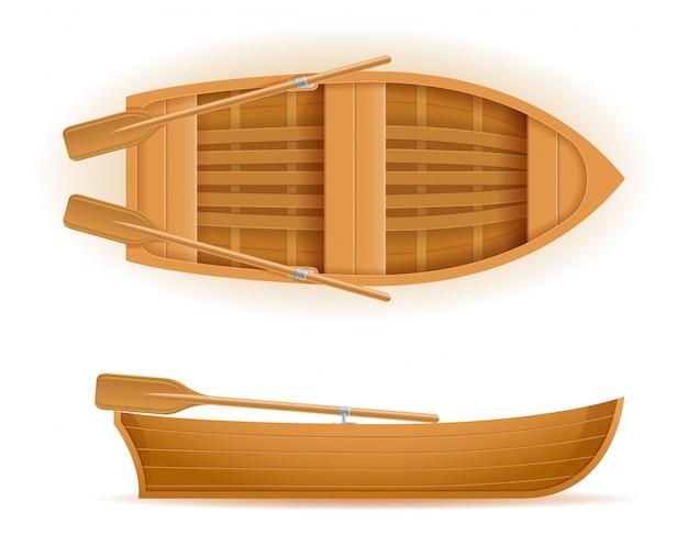 Деревянная лодка сверху и вид сбоку векторная иллюстрация Premium векторы