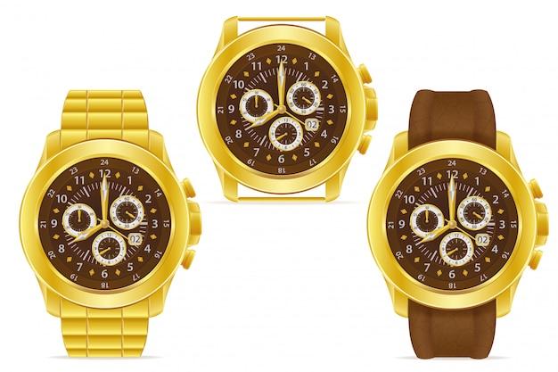 金の機械式腕時計のベクトル図 Premiumベクター