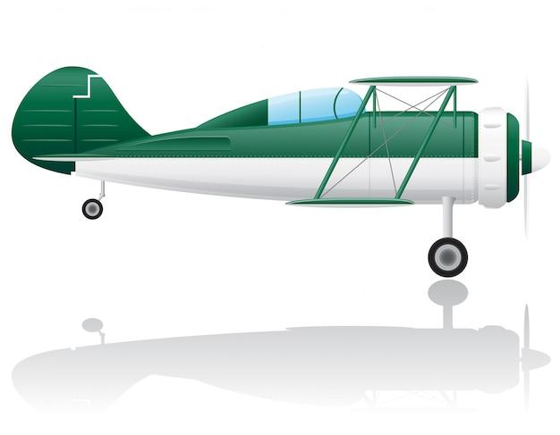 Старый ретро самолет векторная иллюстрация Premium векторы