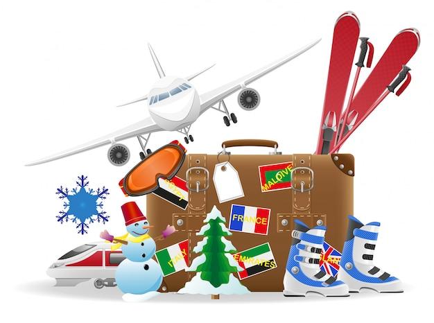 旅行や冬のレクリエーションのベクトル図の要素のための古いスーツケース Premiumベクター