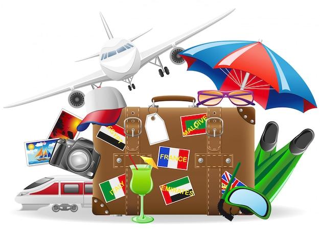 旅行や夏のレクリエーションのベクトル図の要素のための古いスーツケース Premiumベクター