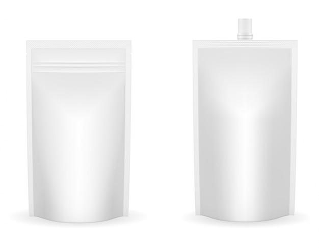 ケチャップやソースのベクトル図の空白の白い包装箔 Premiumベクター