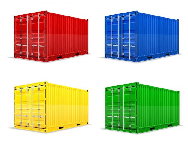 Грузовой контейнер векторная иллюстрация Premium векторы