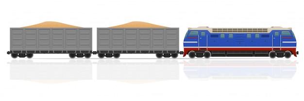 機関車と貨車のベクトル図と鉄道の列車 Premiumベクター