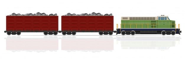Железнодорожный поезд с локомотивом и вагонами векторная иллюстрация Premium векторы