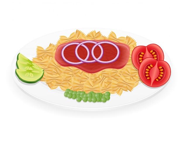 野菜のベクトル図と皿の上のパスタ Premiumベクター