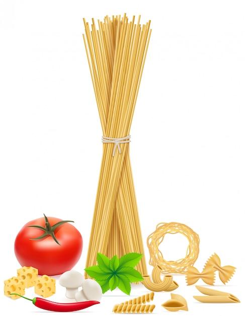 パスタと野菜のベクトル図 Premiumベクター