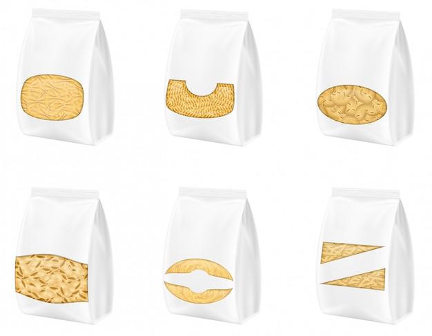 Макароны в пустой упаковке векторная иллюстрация Premium векторы