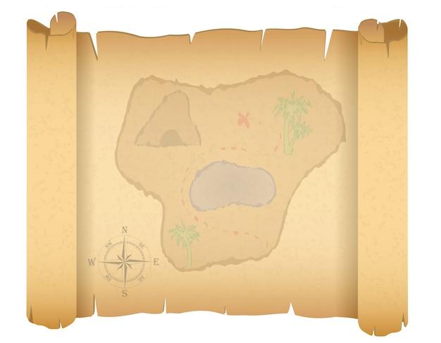 Пиратская карта сокровищ векторная иллюстрация Premium векторы