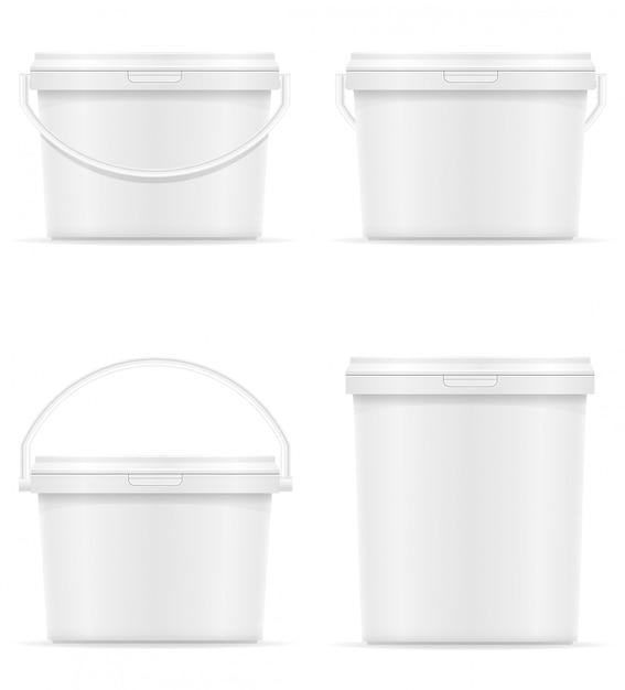 ペンキのベクトル図の白い空白のプラスチック製のバケツ Premiumベクター