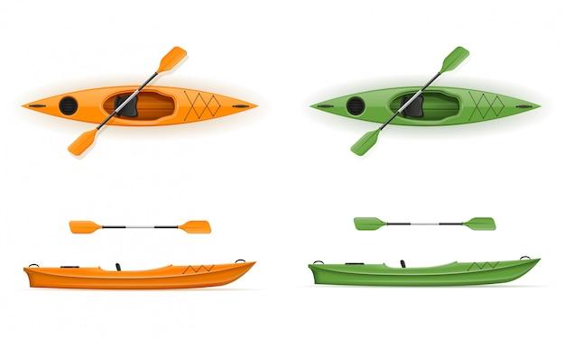 Пластиковый каяк для рыбалки и туризма векторная иллюстрация Premium векторы