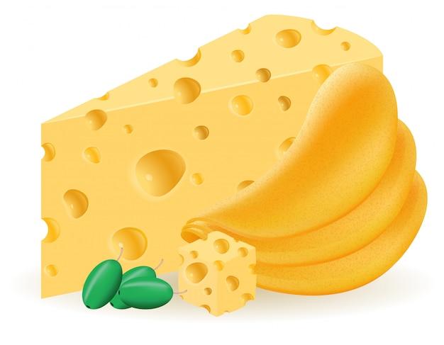 ポテトチップスとチーズのベクトル図 Premiumベクター