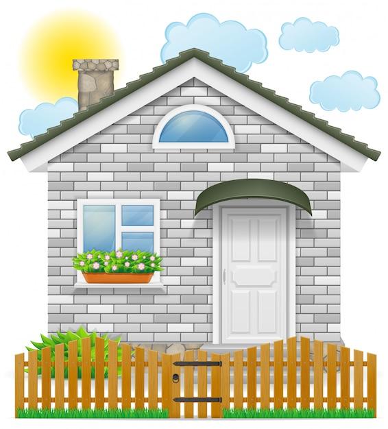Небольшой загородный дом с деревянным забором Premium векторы