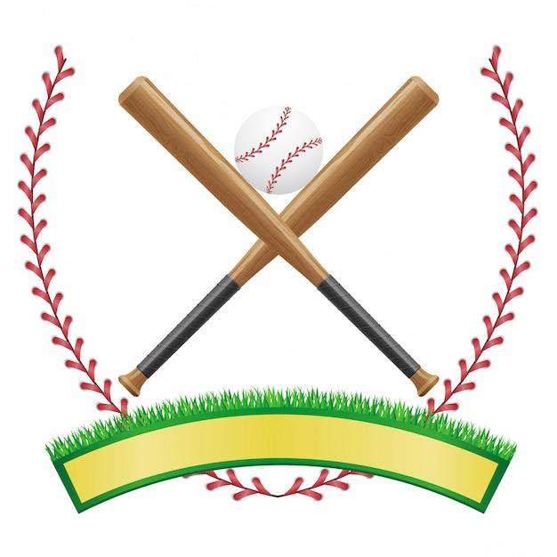 野球バナーエンブレム Premiumベクター
