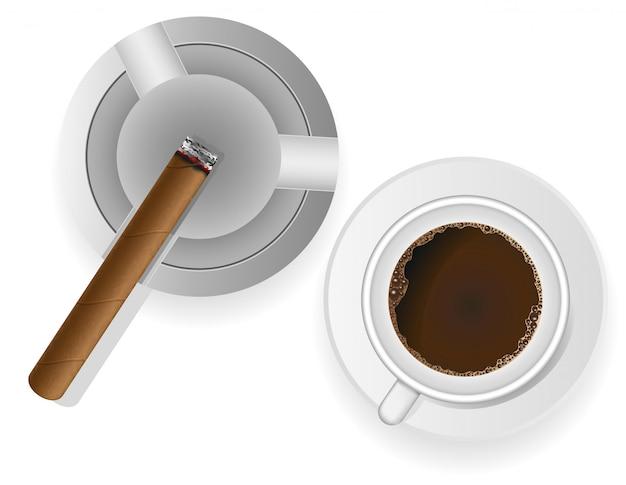 灰皿とコーヒーのベクトル図で葉巻を燃焼 Premiumベクター