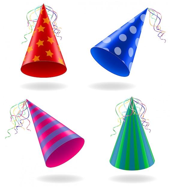 Набор иконок шапки для празднования дня рождения векторная иллюстрация Premium векторы