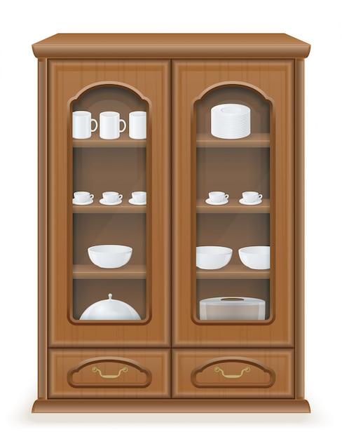 木製のベクトル図から成っている食器棚の家具 Premiumベクター