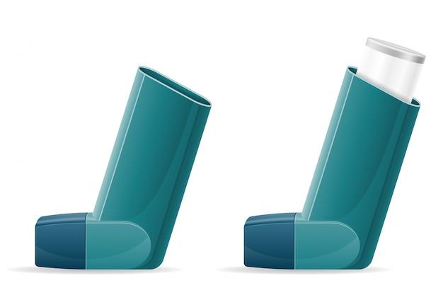 Медицинский ингалятор для пациентов с астмой и одышкой при лечении и профилактике заболевания Premium векторы