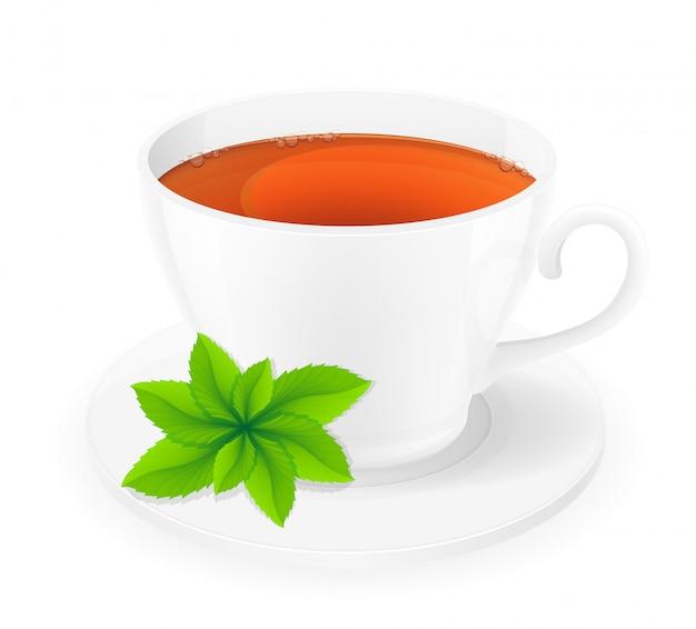 Фарфоровая чашка чая с мятой векторная иллюстрация Premium векторы