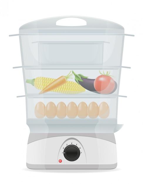 Электрическая кухня пароварка векторные иллюстрации Premium векторы