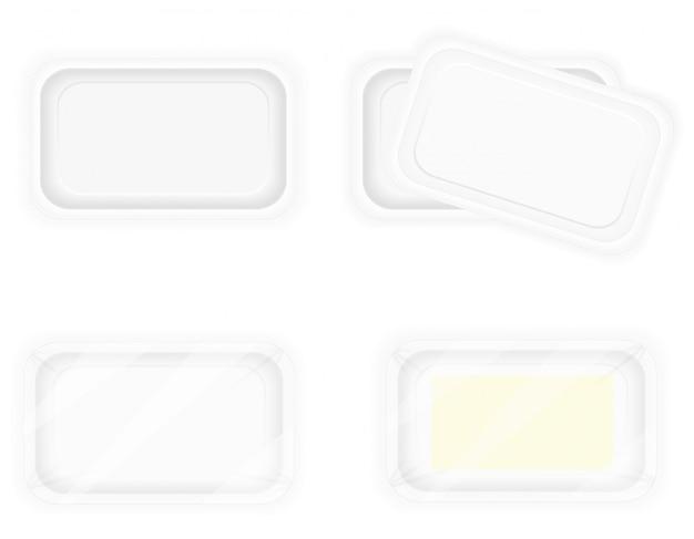 Белая пластиковая тара для упаковки продуктов питания. Premium векторы