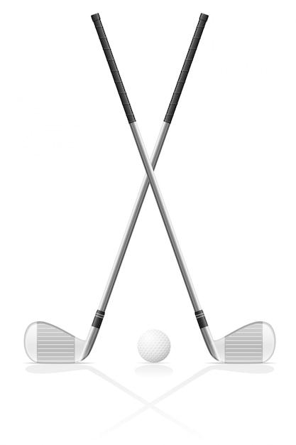 ゴルフクラブとボール Premiumベクター