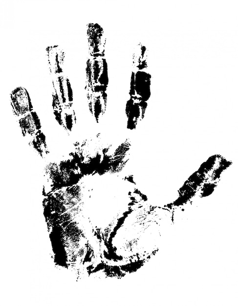 Отпечаток руки черный. Premium векторы