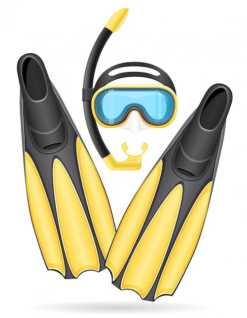 潜水用マスクチューブとフリッパー。 Premiumベクター