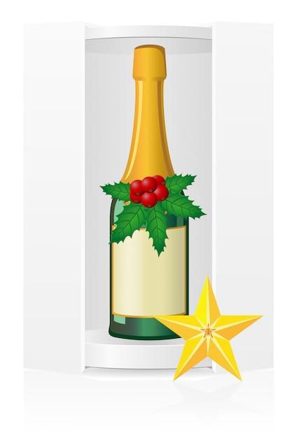 シャンパン付き新年梱包箱。 Premiumベクター