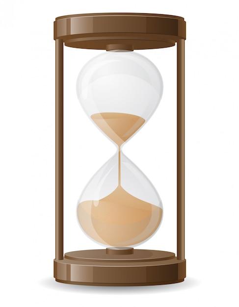 Старое ретро песочные часы векторная иллюстрация Premium векторы