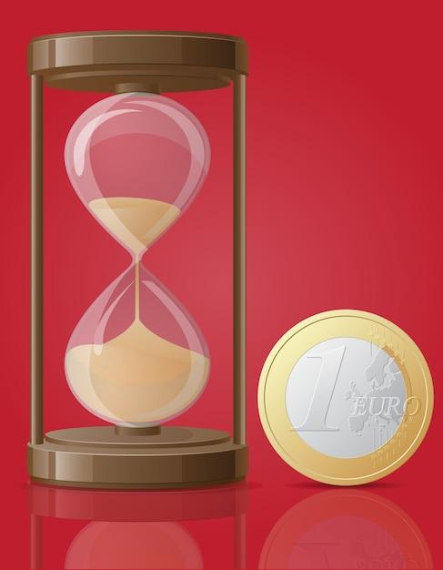 Старые ретро песочные часы и одна монета евро векторная иллюстрация Premium векторы