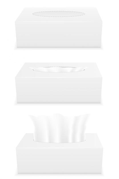 白いティッシュボックスセットベクトル図 Premiumベクター