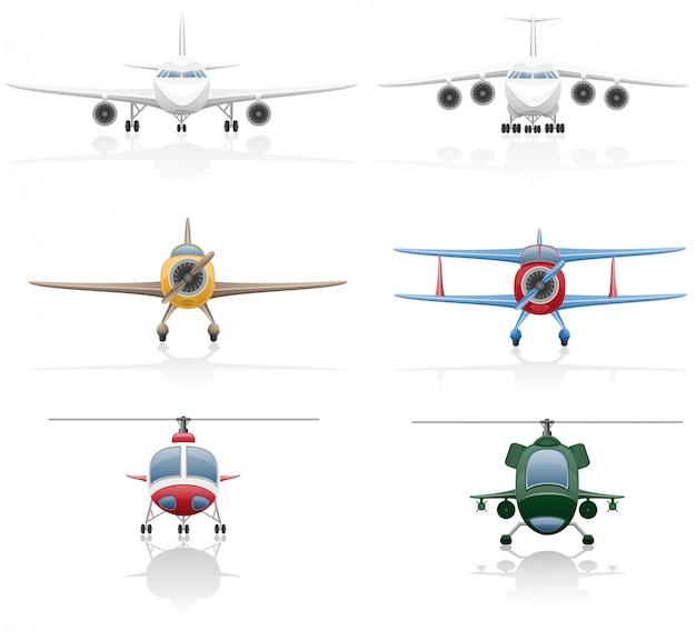 飛行機とヘリコプターのベクトル図のセット Premiumベクター