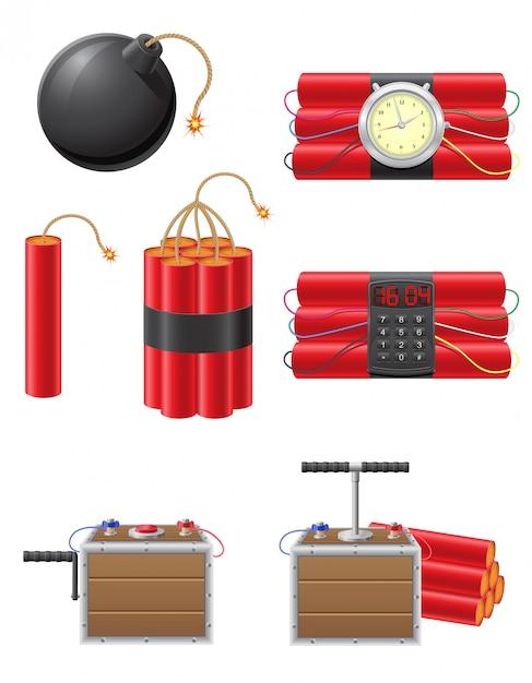 爆発ヒューズとダイナマイトのベクトル図のセット Premiumベクター