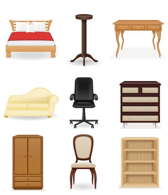 家具のベクトル図のセットです。ソファ、ベッド、椅子、机、クローゼット Premiumベクター