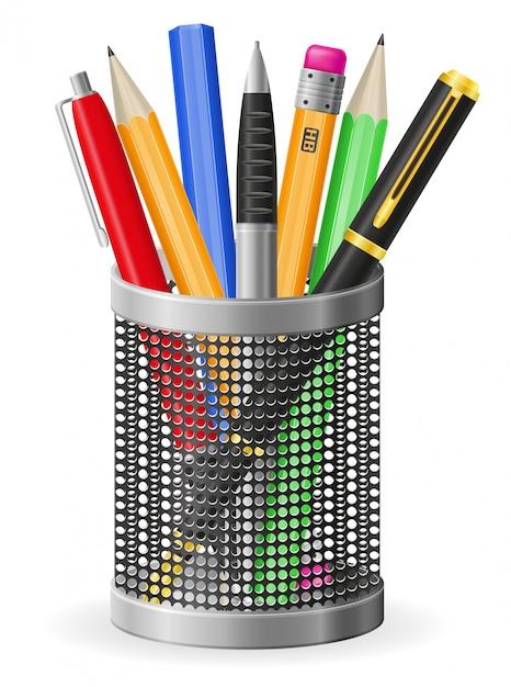 現実的なペンと鉛筆のベクトル図のセット Premiumベクター