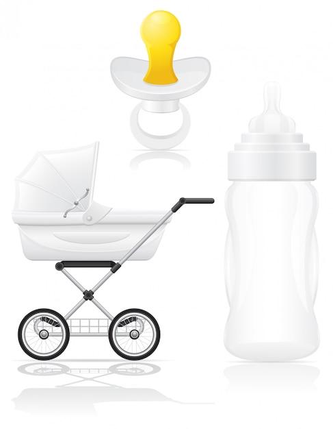 現実的な乳母車瓶とおしゃぶりのベクトル図のセット Premiumベクター