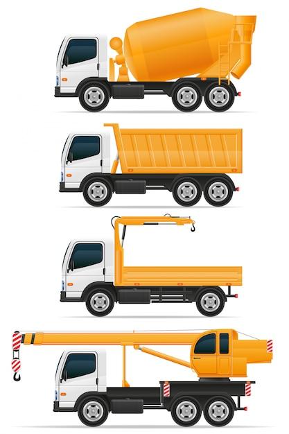 建設ベクトル図のために設計されたトラックのセット Premiumベクター