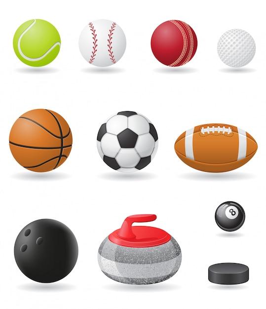 Набор спортивных мячей векторная иллюстрация Premium векторы