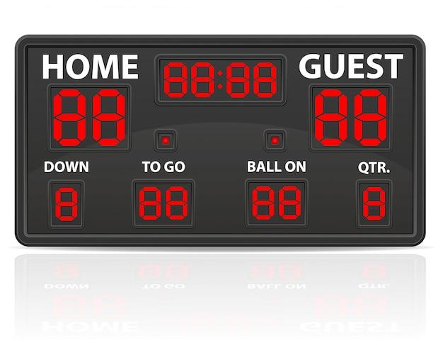 アメリカンフットボールスポーツデジタルスコアボードベクトル図 Premiumベクター