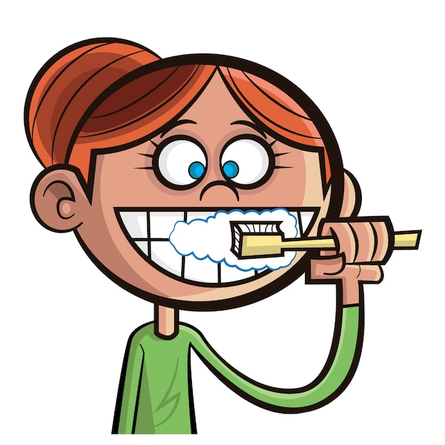 彼女の歯を磨くの女の子 Premiumベクター
