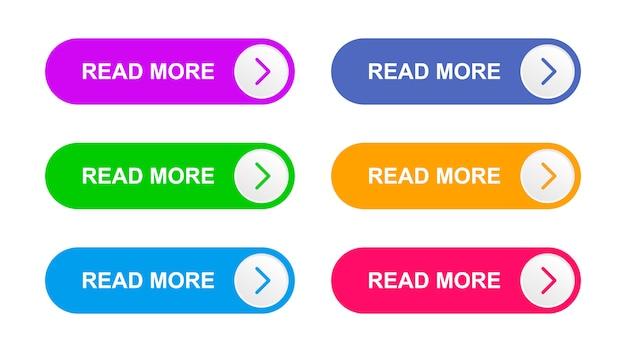 分離されたベクトル紫、緑、明るい青、青、オレンジ、ピンク色のボタン Premiumベクター