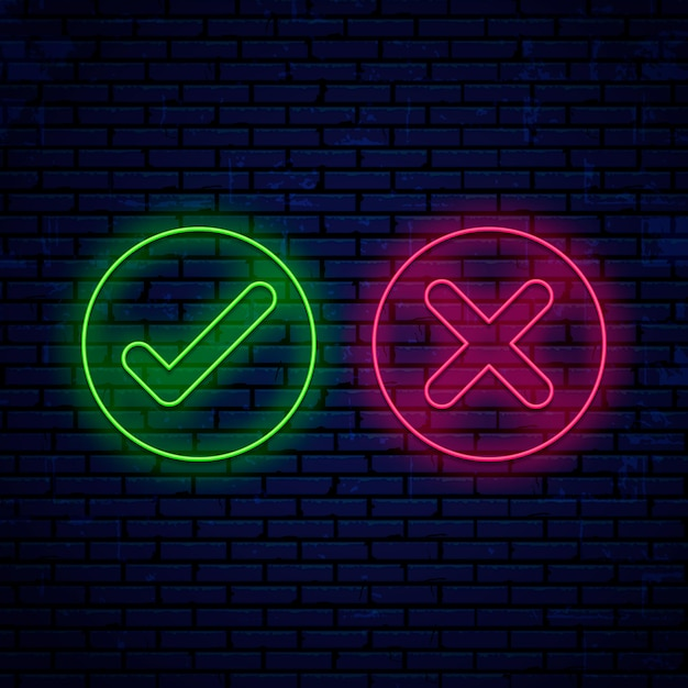 明るいネオンサイン、チェックマーク、アイコンラウンド形状の壁に分離 Premiumベクター